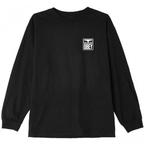 T-Shirt Manches Longues Obey - Obey Eyes Icon 2 - Off Black