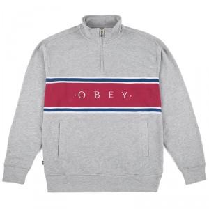 Sweatshirt Obey - Palisade Mock Neck Zip - Heather Grey