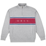 Sweatshirt Obey - Palisade Mock Neck Zip - Heather Grey