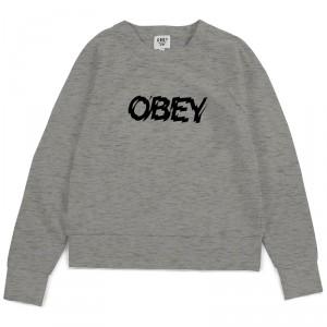 Sweat Shirt Femme Obey - Static Age - Heather Grey