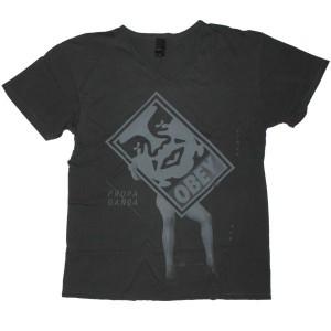 OBEY V-Neck T-Shirt - Circa Now - Black