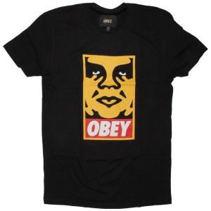 OBEY Premium T-Shirt - Orange Icon Face - Black