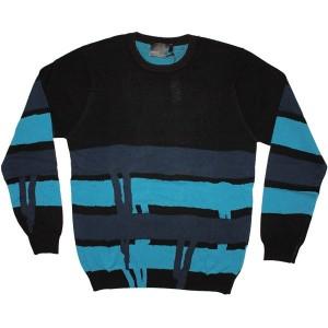 WESC Knitted Sweater - Stash Stripe Drip - Black