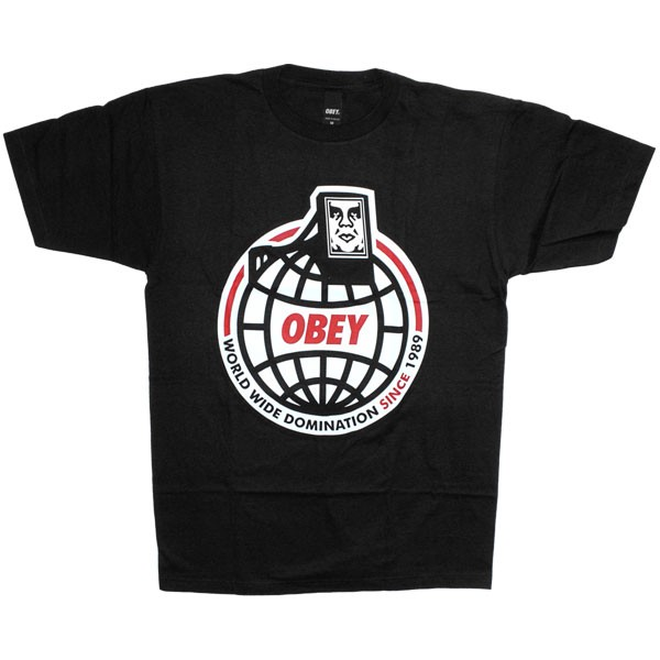 T Shirt Obey Basic Tee Worldwide Domination Black